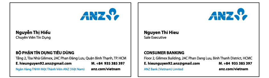 anz 01 in name card, danh thiếp, card visit giá rẻ